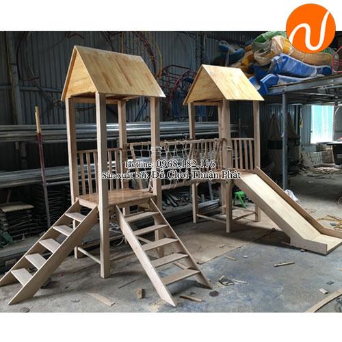 Bộ nhà chòi cầu trượt bằng gỗ TPNKG-001