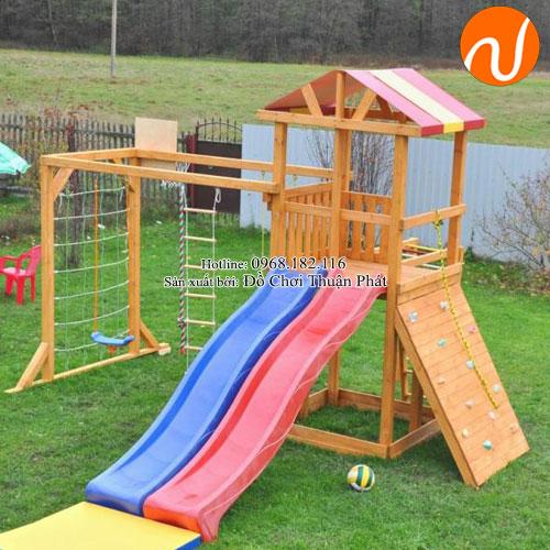Bộ nhà khối gỗ 2 máng trượt cho trẻ từ 2 -5 tuổi