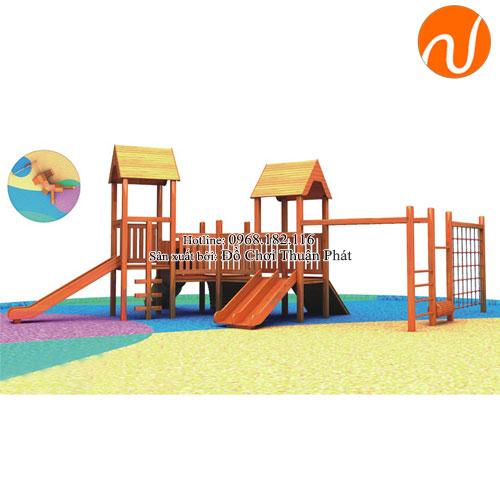 nhà khối liên hoàn cầu trượt bằng gỗ cho bé 2 -5 tuổi