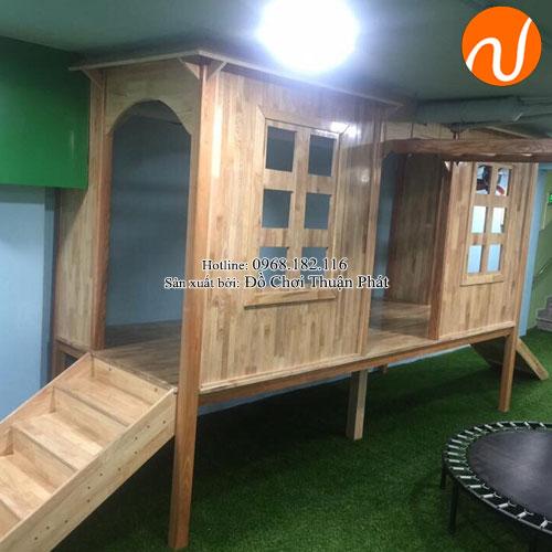 Bộ nhà liên hoàn cầu trượt 2 khối bằng gỗ cho bé