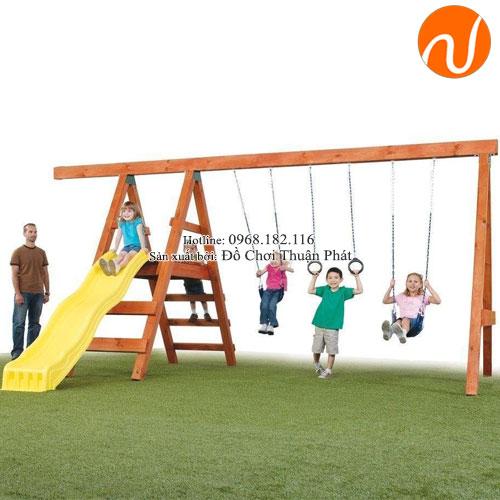 Xích đu, thang leo và cầu trượt bằng gỗ cho bé từ 2 - 5 tuổi