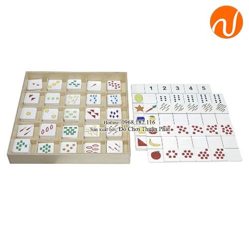 Giáo cụ Montessori bảng ghép số và số lượng với các đối tượng khác nhau UDLQ-3409