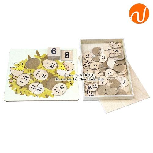 Giáo cụ Montessori bộ ghép hình số và lượng quả trứng UDLQ-5605