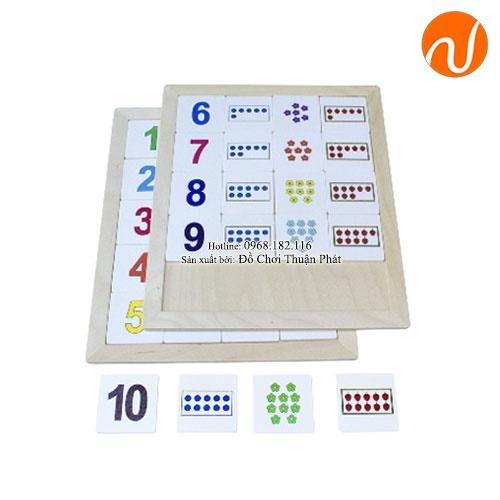Giáo cụ Montessori đếm từ 1-10 với số, số lượng tương ứng UDLQ-5606