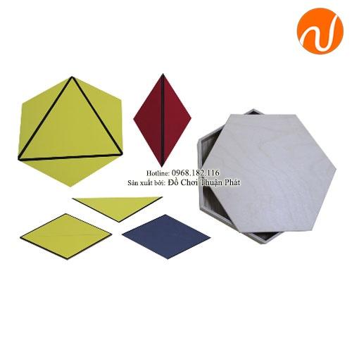 Giáo cụ Montessori ghép hình tam giác tạo thành hình lục giác UDLQ-5601