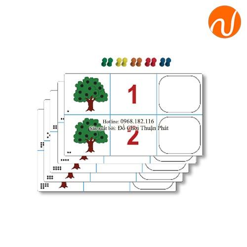 Giáo cụ Montessori hộp số và số lượng với các thẻ ảnh và vật tìm và ghép tương ứng UDLQ-5609