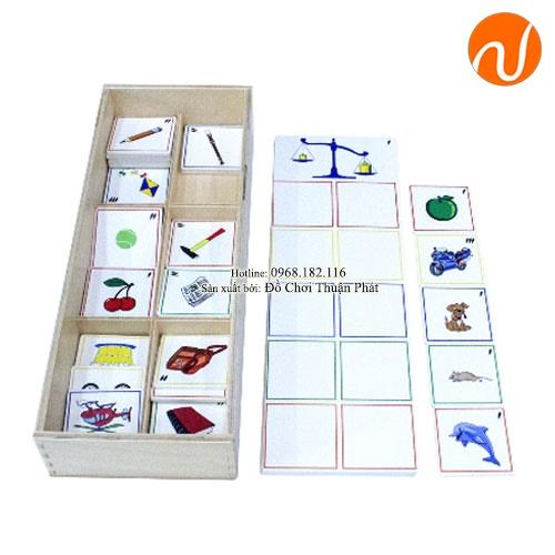 Giáo cụ Montessori phân biệt trọng lượng qua các thẻ ảnh theo chủ đề UDLQ-4516