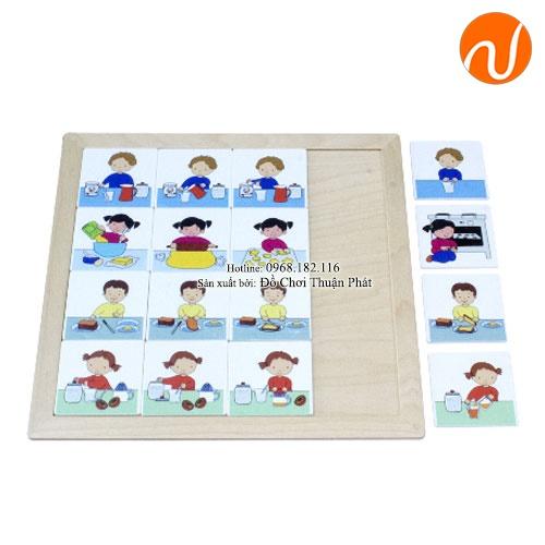 Giáo cụ montessori sắp xếp các hình trong tranh theo logic câu chuyện UDLQ-5614