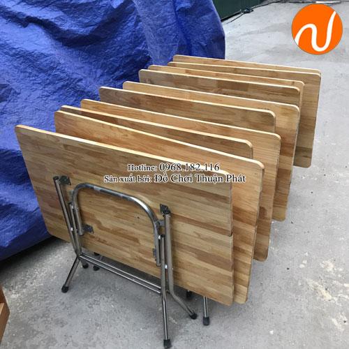 Bàn gỗ mầm non chân gấp bằng inox TPBG-001-2