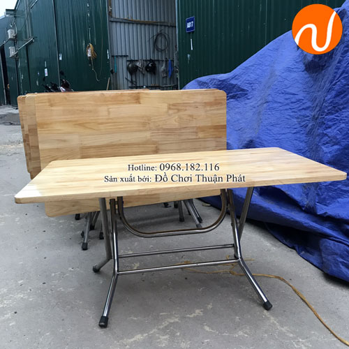Bàn gỗ mầm non chân gấp bằng inox TPBG-001-3