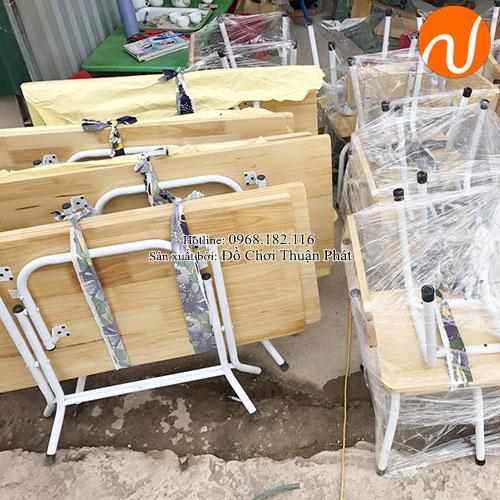 Bàn gỗ mầm non chân gấp bằng sắt TPBG-002-5