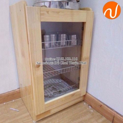 Tủ úp ca cốc khung gỗ 1 cánh cho trường mầm non TP-1210