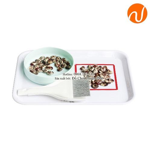 Giáo cụ montessori bài học quét và hót hạt đậu GC36-463
