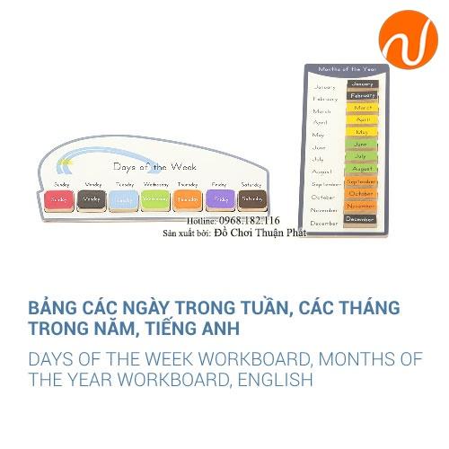 Bảng các ngày trong tuần và tháng trong năm tiếng anh GC36-303 Giúp trẻ nhận biết và đọc tên các thứ trong tuần.