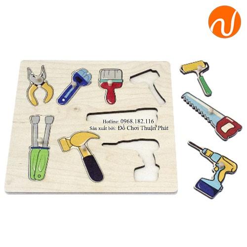 Giáo cụ montessori bộ ghép bảng dụng cụ UDKP-3419
