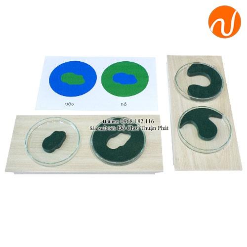 Giáo cụ montessori cặp hình thái đất và nước UDKP-5604