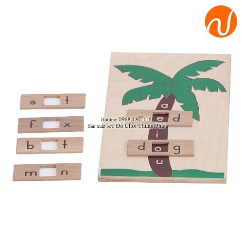 Cây với tổ hợp từ và các thẻ chữ tiếng anh bằng chất liệu gỗ GC36-109 giúp trẻ biết cách ghép từ với 3 âm chữ cái.