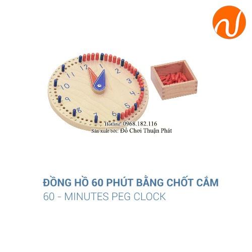 Giáo cụ đồng hồ 60 phút bằng chốt cắm GC36-291 giúp trẻ biết chỉnh kim theo giờ đúng trong thẻ mẫu