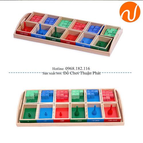 Giáo cụ montessori hộp trò chơi con tem với các con ki GC36-178
