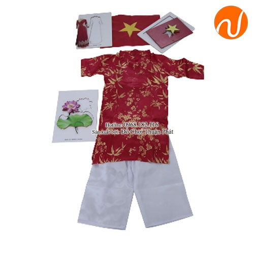 Giáo cụ montessori quốc kỳ, quốc hoa, trang phục truyền thống của Việt Nam UDKP-5603