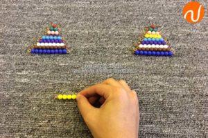 Hướng dẫn sử dụng giáo cụ Montessori phép cộng với các chuỗi hạt màu