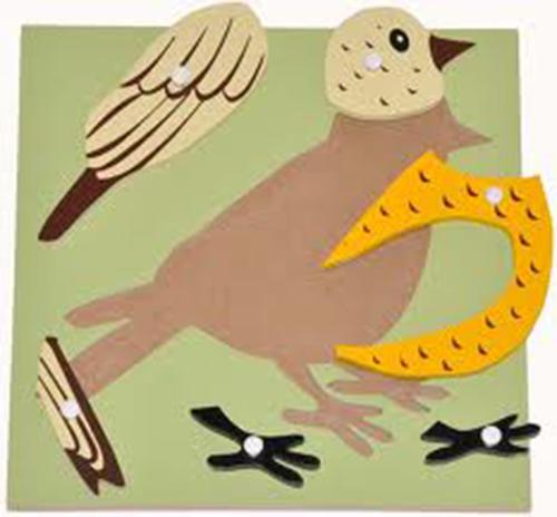 Hướng dẫn giáo cụ Montessori ghép hình con chim cho bé-2