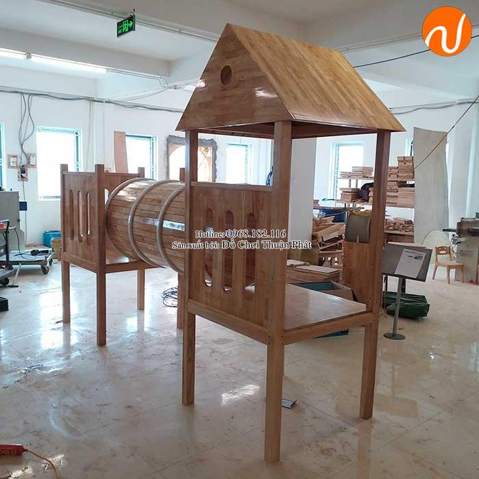 Sản xuất nhà khối cầu trượt bằng gỗ cho khách tại Bắc Giang-11