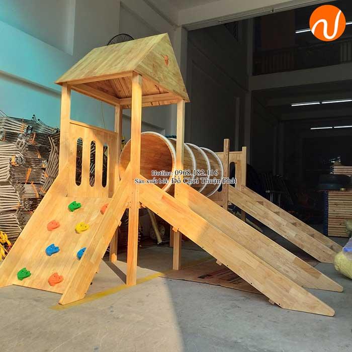 Sản xuất nhà khối cầu trượt bằng gỗ cho khách tại Bắc Giang-2