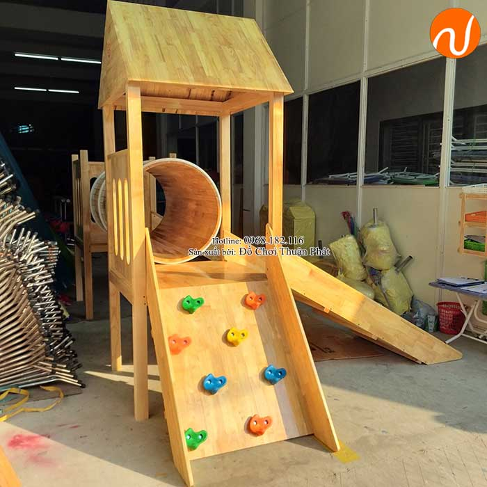 Sản xuất nhà khối cầu trượt bằng gỗ cho khách tại Bắc Giang-4