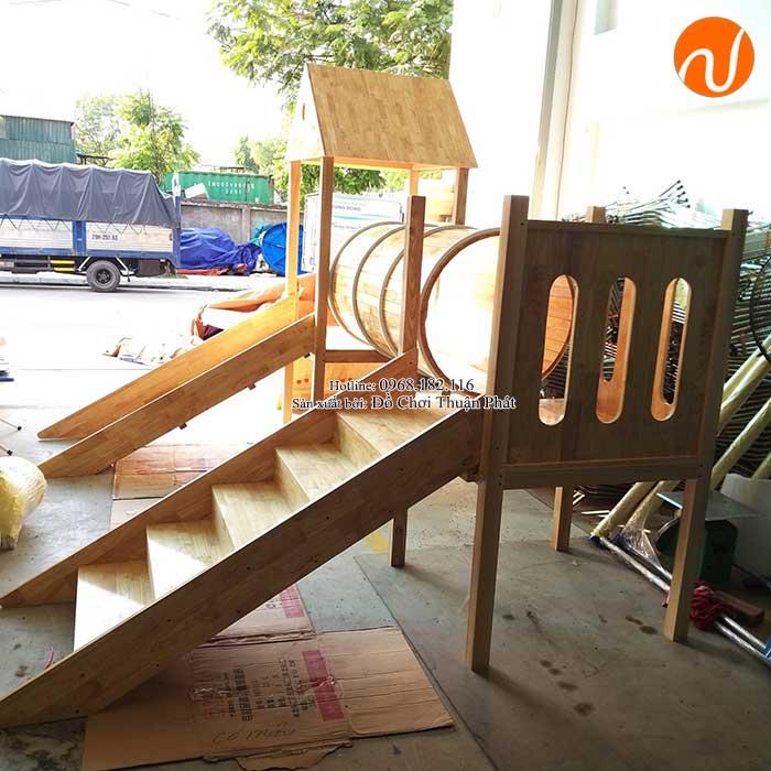 Sản xuất nhà khối cầu trượt bằng gỗ cho khách tại Bắc Giang-6