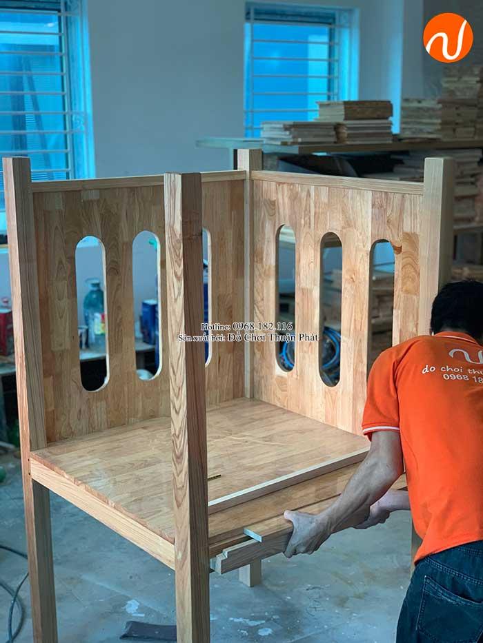 Sản xuất nhà khối cầu trượt bằng gỗ cho khách tại Bắc Giang-8