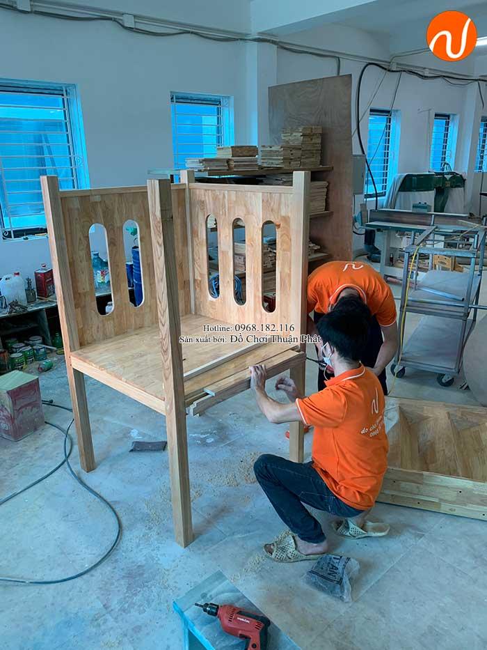 Sản xuất nhà khối cầu trượt bằng gỗ cho khách tại Bắc Giang-9